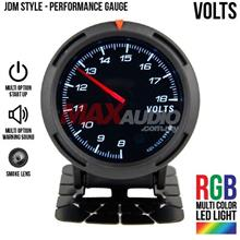 JDM Volts Voltage 2.5' RGB Multi-color LED Smoke Racing Gauge Meter