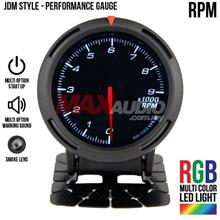 JDM RPM Tachometer 2.5' RGB Multi-color LED Smoke Racing Gauge Meter
