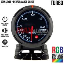 JDM Turbo Boost 2.5' RGB Multi-color LED Smoke Racing Gauge Meter