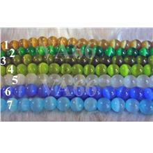 38p Cats Eye Smooth Crystal Beads 10mm Colors Loose Bead