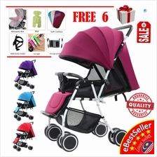 HY19 Lightweight Baby Stroller Folding with 8X Wheels + Adjustable Bac