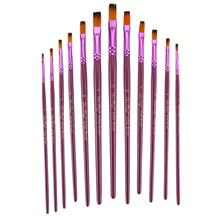 ZHUTING 12PCS 4 COLORS NYLON WOOL EVEN ACRYLIC LINER PAINTING NAIL ART..