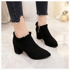 Women High Heel Shoes Thick Heel Pointed Lace Shoes Side Zipper