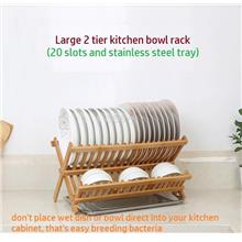 Bamboo Disk Rack, Plate Holder, Utensil Drainer, Free Stainless Steel