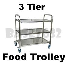 Restaurant Dining 3 Tier Stainless Steel Food Kitchen Trolley Cart