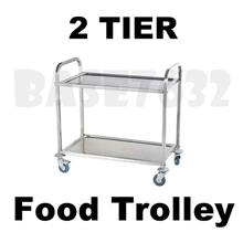 Restaurant Dining 2 Tier Stainless Steel Food Kitchen Trolley Cart
