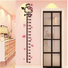 3D Acrylic Crystal Hello Kitty Height Measurement Wall Sticker