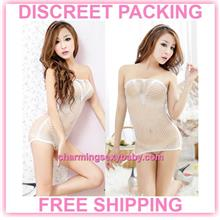 Sexy Fishnet Body Stocking White Dress Hosiery Lingerie Sleepwear -