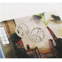04614 Korean Version Of The Full Diamond Earrings Pierced