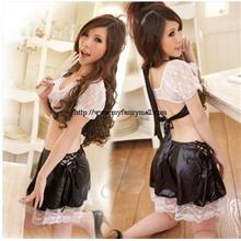 03816 Black & White Leather With Fun Fantasy Game Set Uniform Cosplay