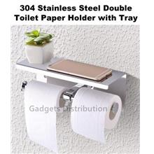 304 Stainless  Steel Double Wall Mounted Toilet Paper Holder with Tray