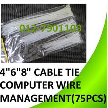 4' 6' 8' inch x 75pcs cable Tie Ties Computer Wire Cabling Tidy
