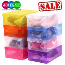 2 Size Transparent Shoe Organizer Boxes Clear Transparent Plastic
