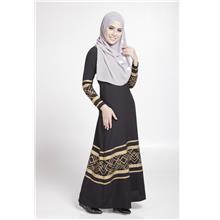 MODERN LONG SLEEVE GOLD CURVE JUBAH DRESS (BLACK, SIZE M)