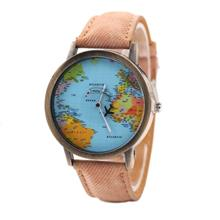XR1105 Men Simple Vintage Jean Canvas with PU Band Map Watch (BROWN SUGAR)