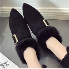 Women Fur Shoes Velvet Warm Flat Cotton Shoes Social Shoes Pointed Boo