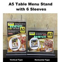 A5 Paper Table Menu Stand with 6 Sleeves Horizontal Vertical Type