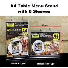 A4 Paper  Table Menu Stand with 6 Sleeves Horizontal Vertical Type