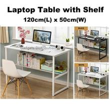 Double  Layer Laptop Computer Desk Table with Under Shelf 120*50cm