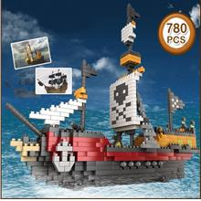 Assembled Building Blocks Pirate Ship Educational Toys