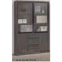 Ready-Fixed 4-Feet Sliding Glass Door With 3 Drawers Book Case