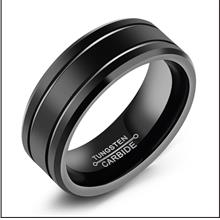 Ring Black Tungsten Steel Ring Simple Men Fashion Accessories #11