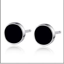 S925 Sterling Silver Black Zircon Round Male Stud Earrings