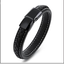 Jewelry Pure Black Titanium Steel Simple Men's Leather Bracelet