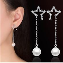 Long Section Pearl Personality Simple Five-pointed Star Earrings