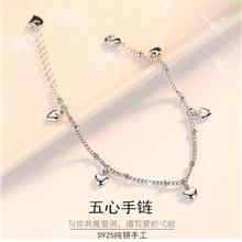 Korean Version Silver Plated Hand Jewelry Creative Women's Bracelet Heart-prin