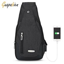 GUAPABIEN USB CHARGE PORT SHOULDER CROSSBODY CHEST BAG (BLACK)