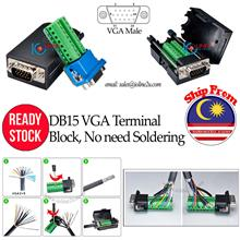 DB15 VGA male Long Screw Terminal block w/ Case Set No soldering required DIY