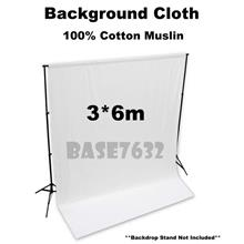 3*6m  WHITE 100% Cotton Muslin Shooting Background Backdrop Cloth