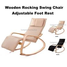 Adjustable Foot Rest Birch Plywood Wooden Rocking Swing Arm Chair