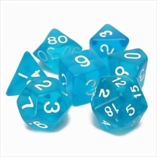 Polyhedral Dice Color Math Game Set 7PCS (DEEP SKY BLUE)