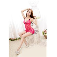 [EH1762-16345RR] Sexy BeautyBack Lace Lingrie + T-panties (Rose Red)