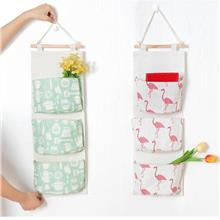 Foldable Hanging Storage Bag 3 Pockets Wall Hanger