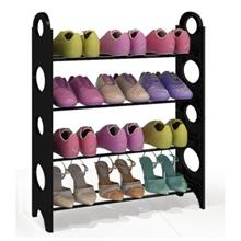 4 Layer Stackable Shoes Rack Black