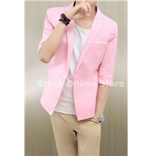 Men short-sleeve shirt Slim Korean tidal- Pink