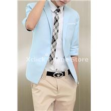 Men coat- Korean Slim short sleeve- Light Blue