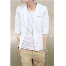 Men coat- Korean Slim short sleeve- White