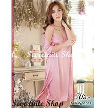 339ba888f Sun   Sexy Deluxe Satin Robe Beautiful with Chemise Lingerie R-09