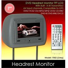 7' Grey Leather Headrest TFT Monitor w/ DVD/VCD/MP3/CD [7002-Grey]