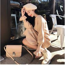 Pre Order 2018 French Sweater Autumn Knee Knit Dress Long Skirt