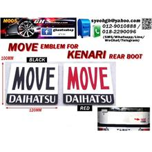 KENARI rear boot MOVE DAIHATSU logo emblem (Red/Black/Gold)