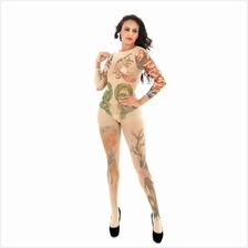 Sexy Artistic Tattoo Open Crotch Bodystocking