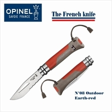 "Opinel N08 Outdoor Folder 3.25"" Sandvik 12C27 Combo Blade Red"