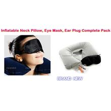 Three Treasures :Inflatable Neck Pillow, Eye Mask, Ear Plugs Complete