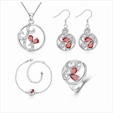 S115-B POPULAR 925 SILVER PLATED EARRINGS RING NECKLACE ANKLET JEWELRY SETS (S