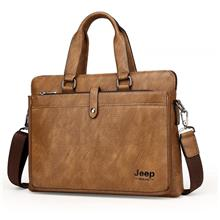 Jeep Buluo Men Bag Leather Bag Men's Briefcase Bag Horizontal Bags